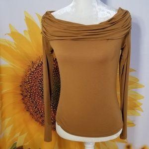 BP. Ochre Ruched Shoulder Long Sleeve Top